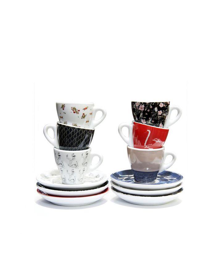 Vittoria Fashion Cappuccino Cups & Saucers (6 set/box)